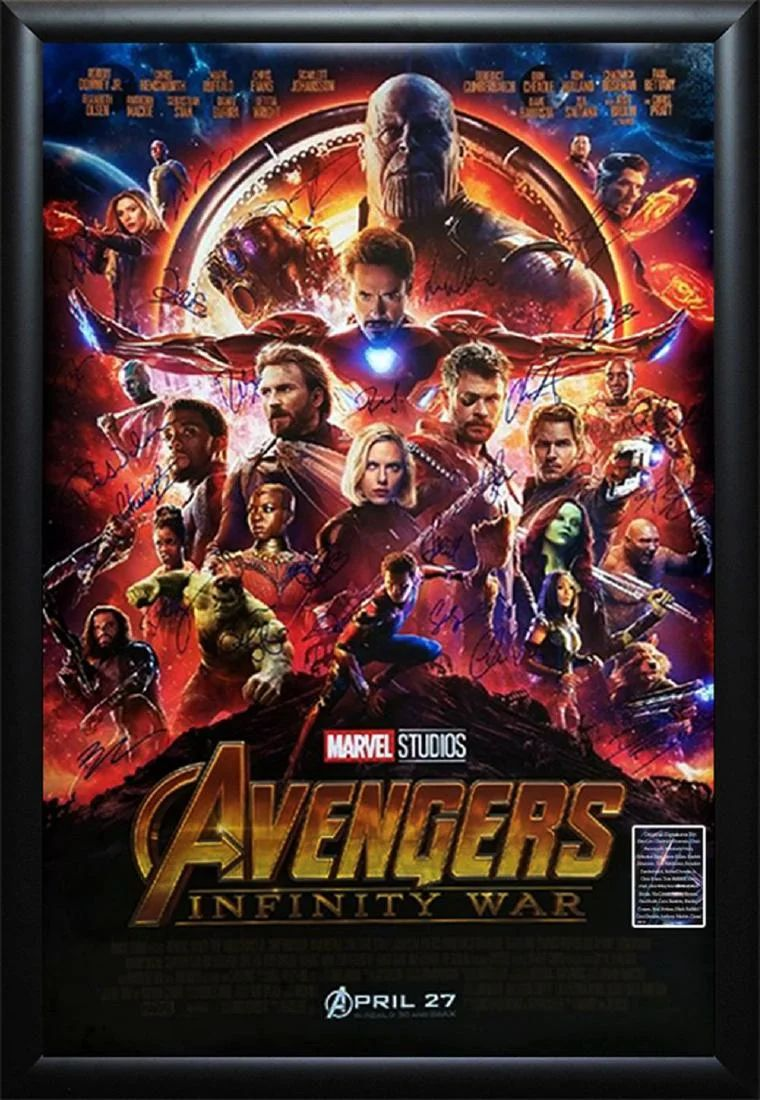 avengers infinity war signed thanos poster