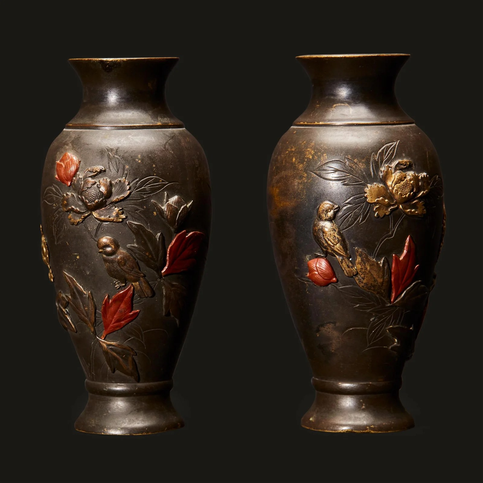 A pair of small Japanese mixed metal ovoid vases, Meiji