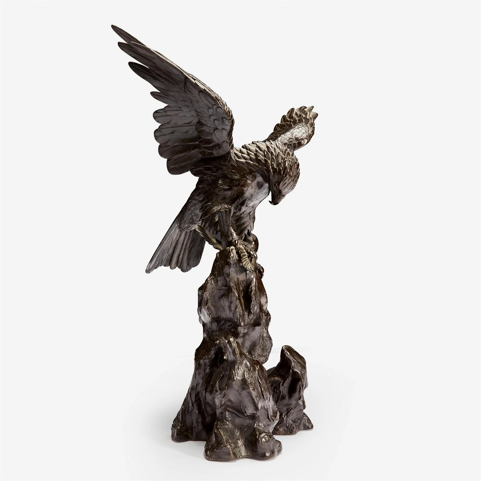 A Japanese patinated bronze eagle and sparrow group,