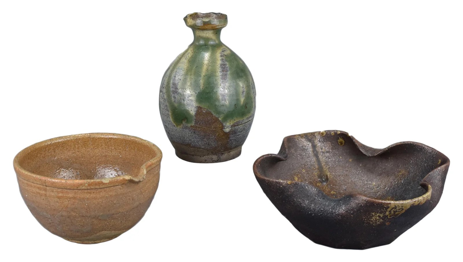 A Japanese Stoneware Bottle & Two Bowls, 18th / 19th