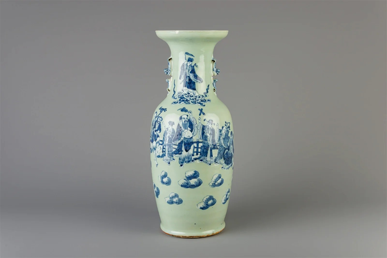 A Chinese blue and white celadon ground 'Immortals'