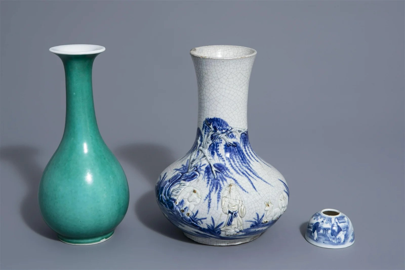 A Chinese blue and white crackle glazed vase, a