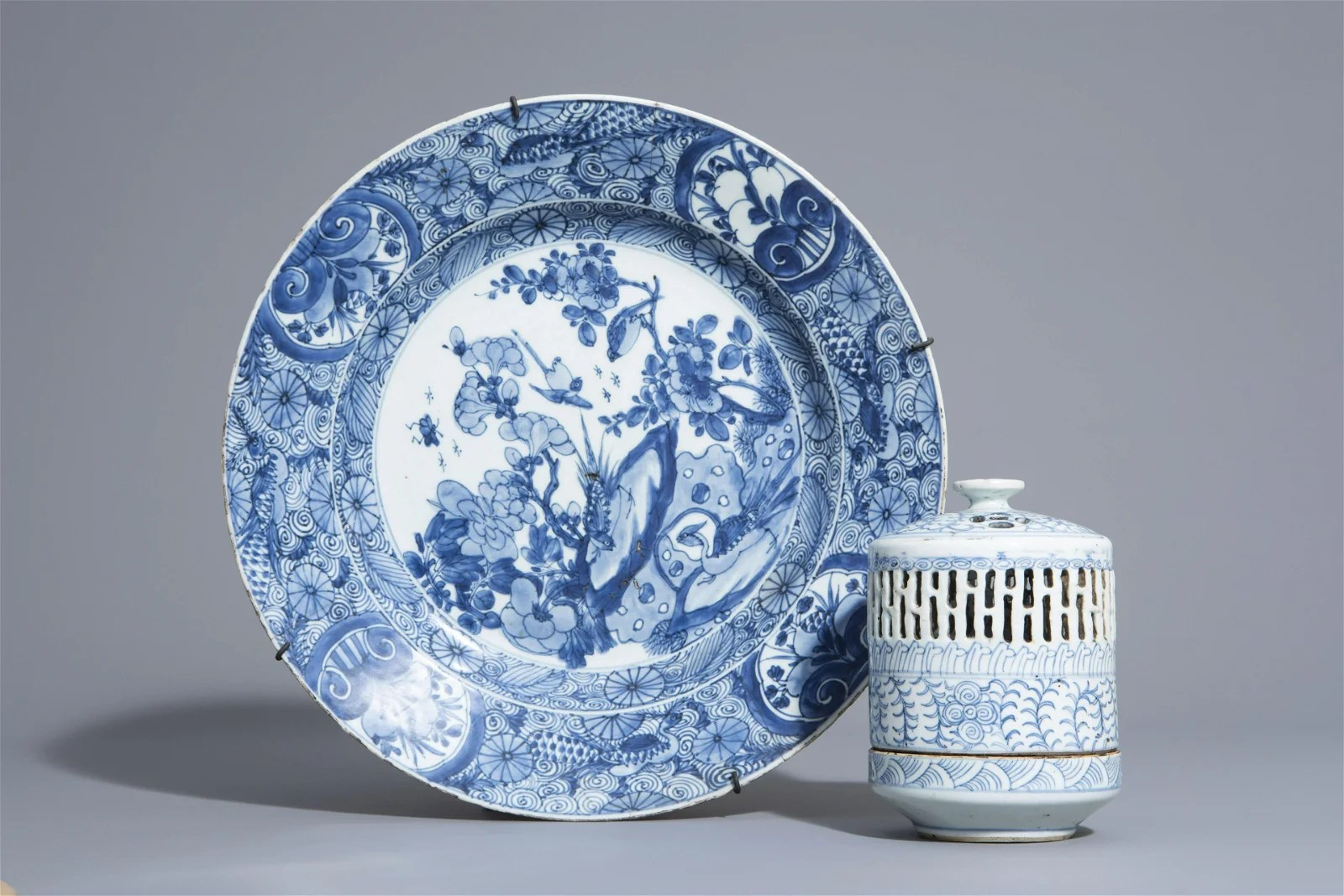 A Chinese blue and white charger and a Peranakan or