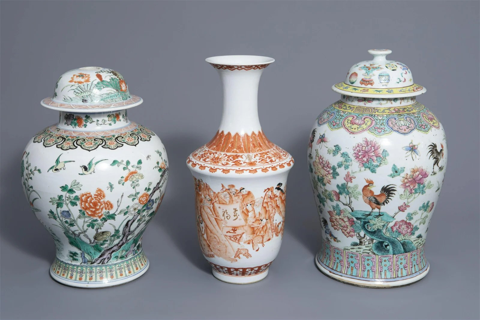 Three Chinese famille rose, verte and iron red vases