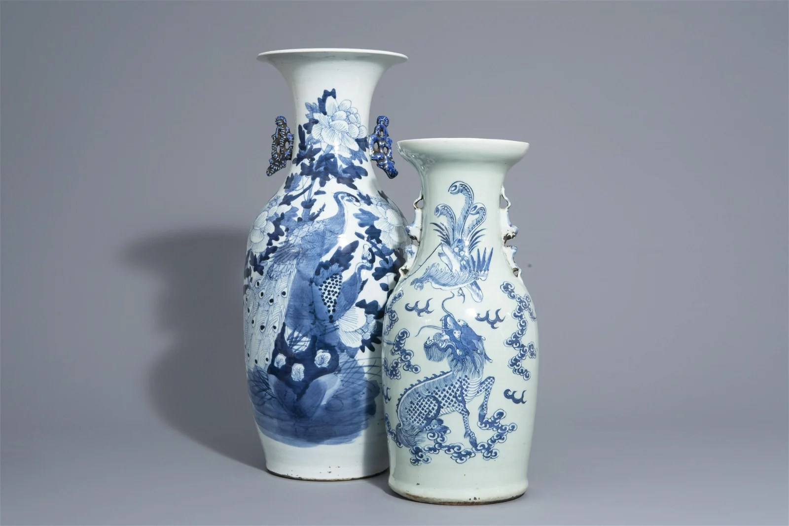 Two Chinese blue and white vases with mythological