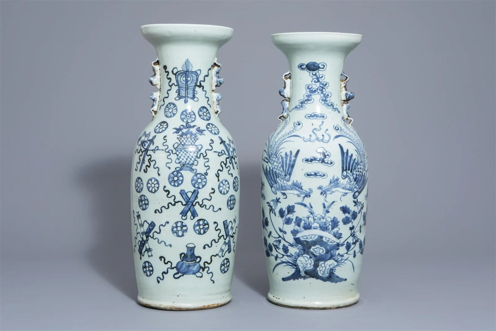 Two Chinese blue and white celadon ground vases with