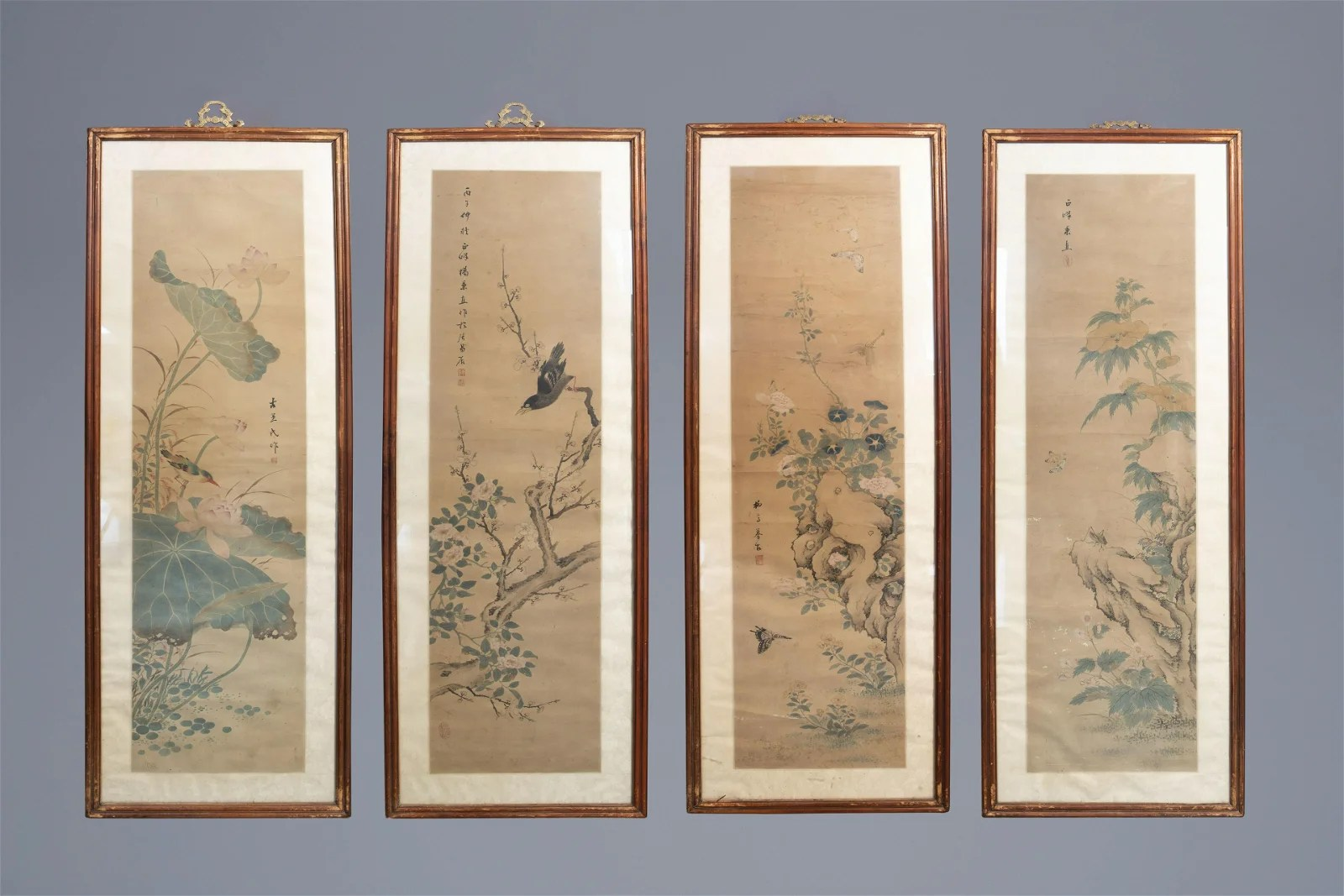 Chinese school, ink and colour on silk, Republic: four