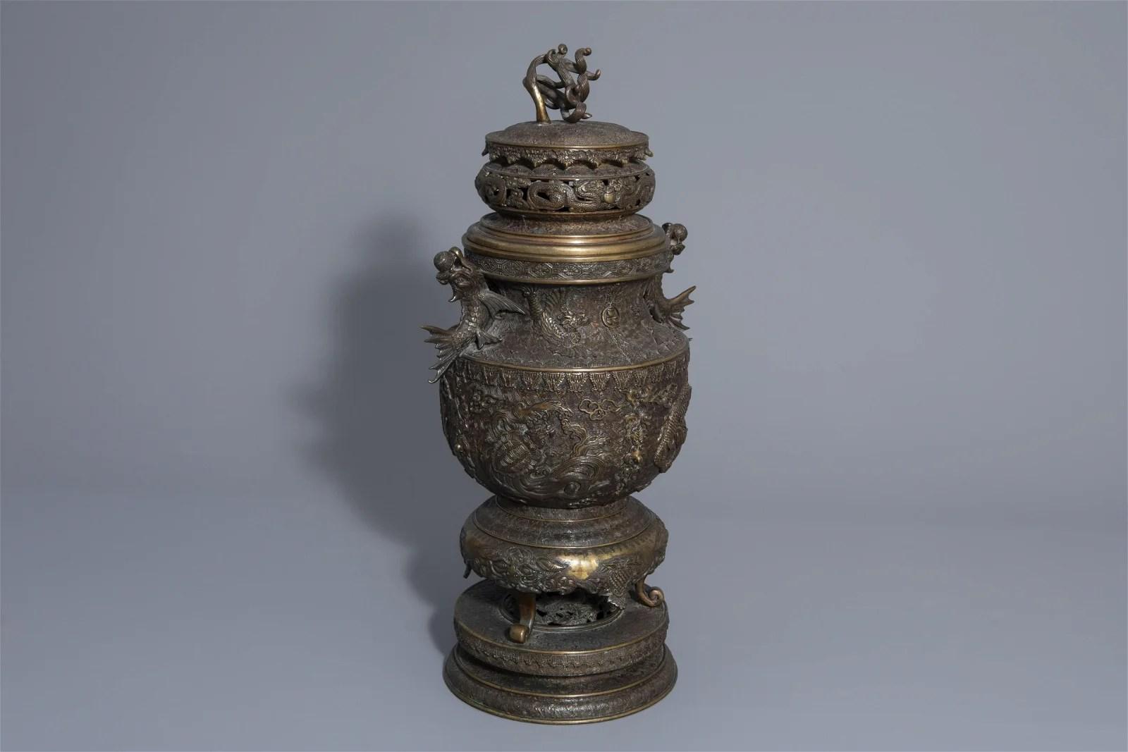 A large Japanese bronze incense burner or koro, Meiji,