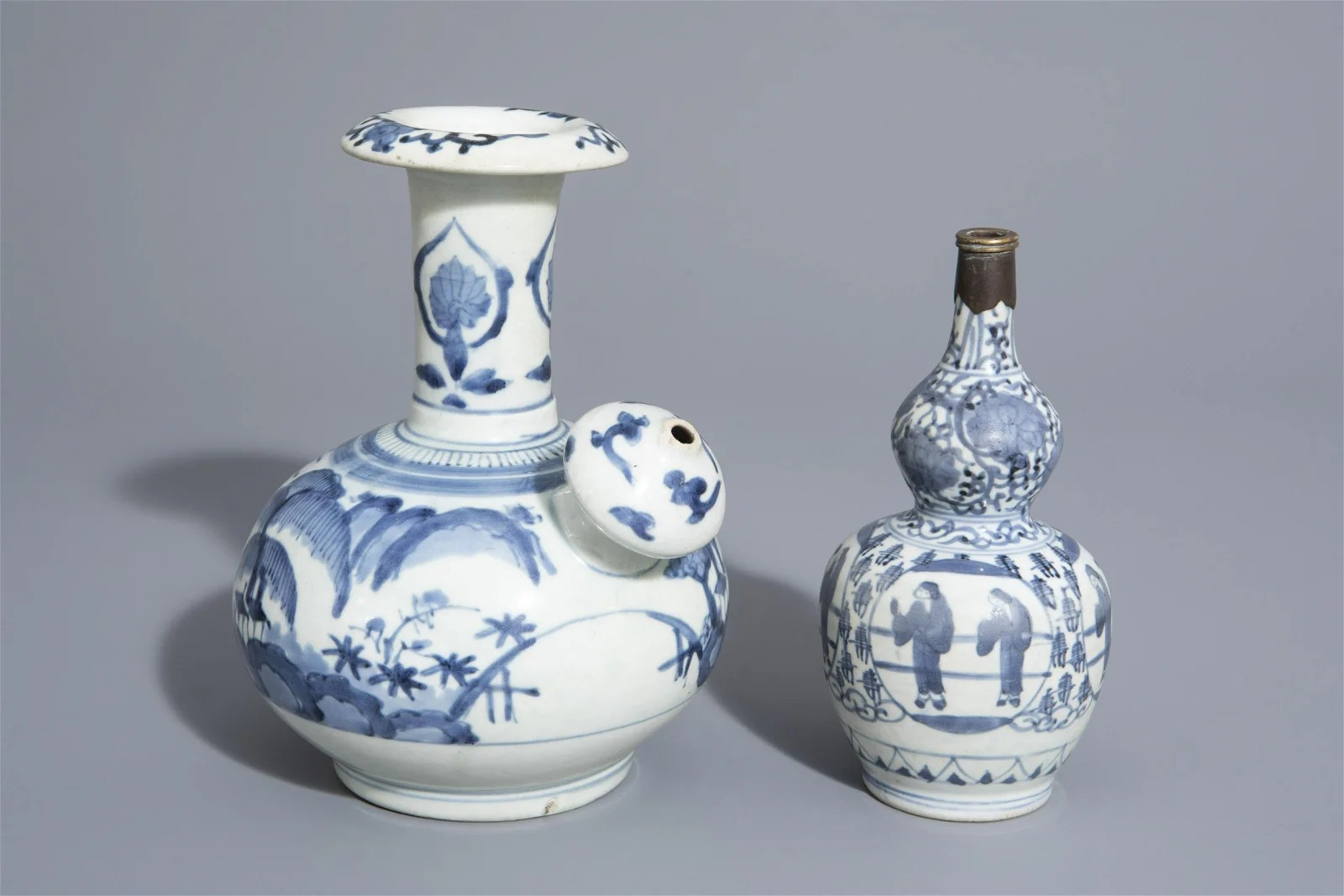 A Japanese blue and white kendi and a double gourd vase