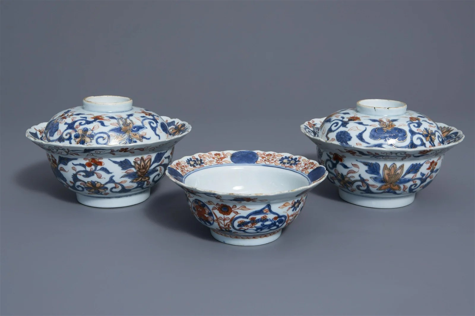 Three Chinese Imari style bowls with floral design,