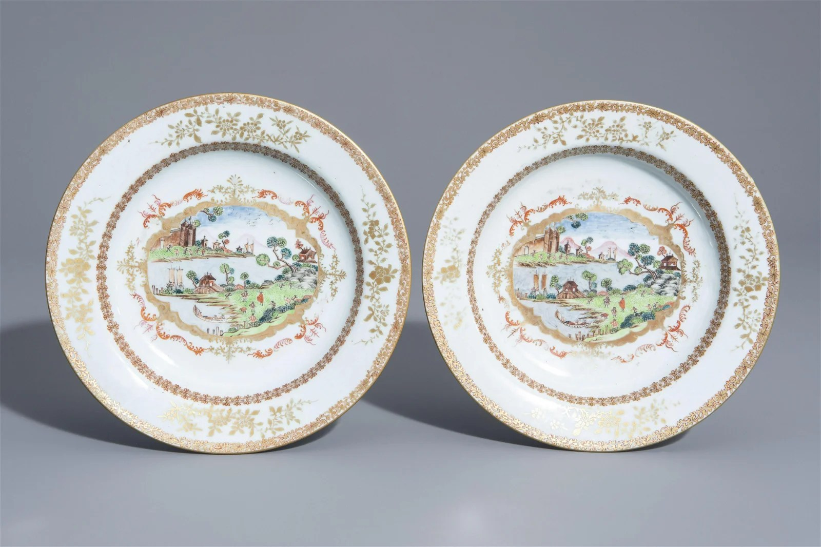 A pair of Chinese famille rose and gilt Meissen style