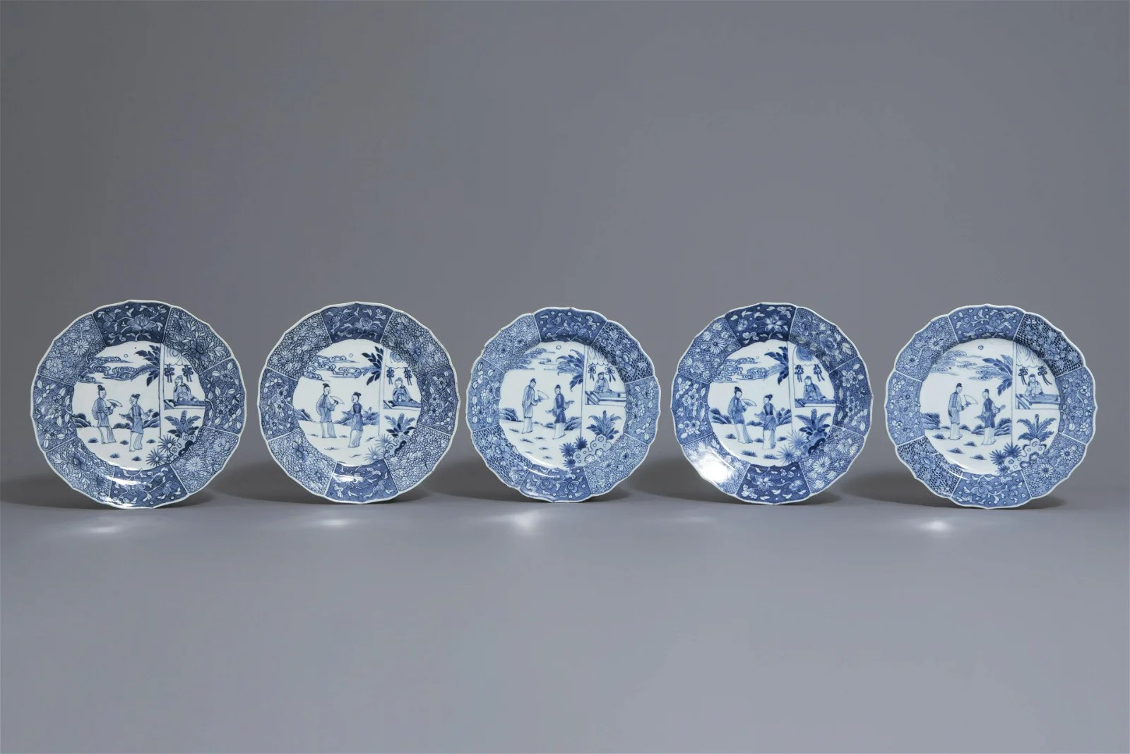 Five Chinese blue and white 'Romance of the Western