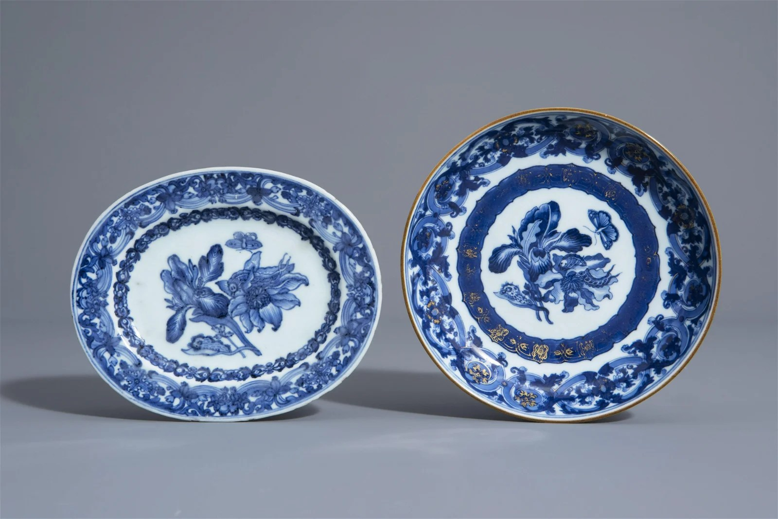Two Chinese blue and white dishes with floral design