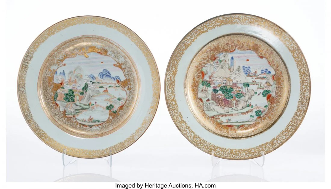27057: A Pair of Chinese Partial Gilt Export Porcelain