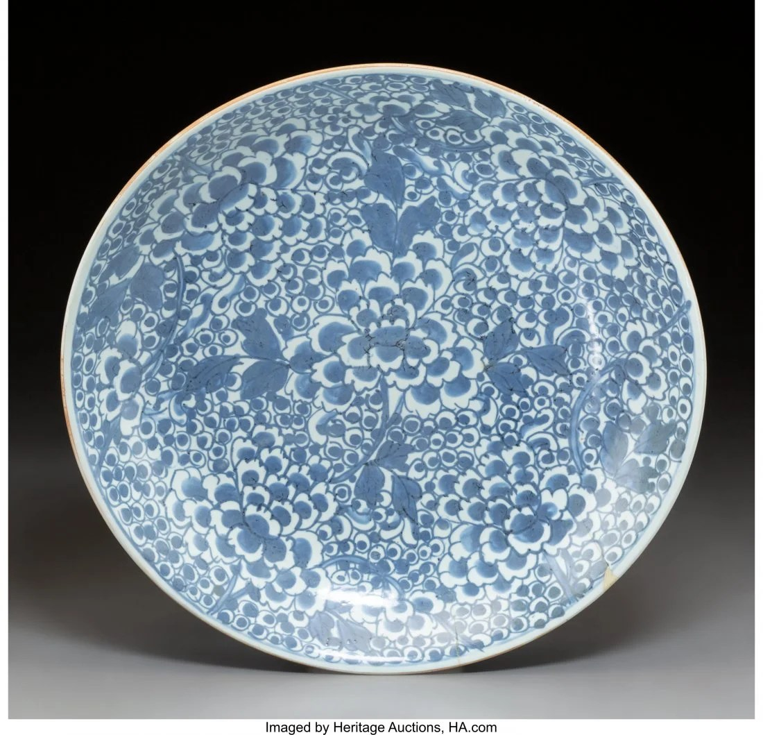 78111: A Chinese Blue and White Porcelain Charger, Qing