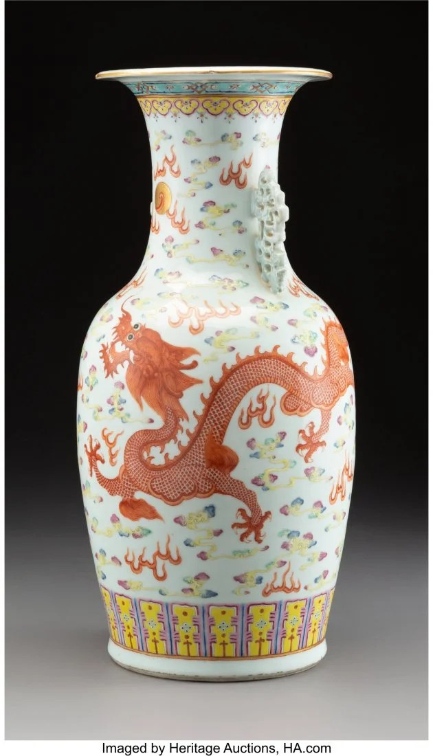 78183: A Large Chinese Enameled Porcelain Dragon and Ph