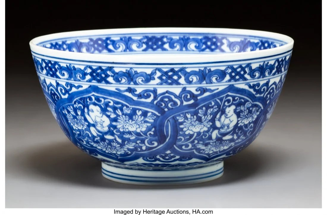 78114: A Chinese Blue and White Porcelain Bowl, Qing Dy