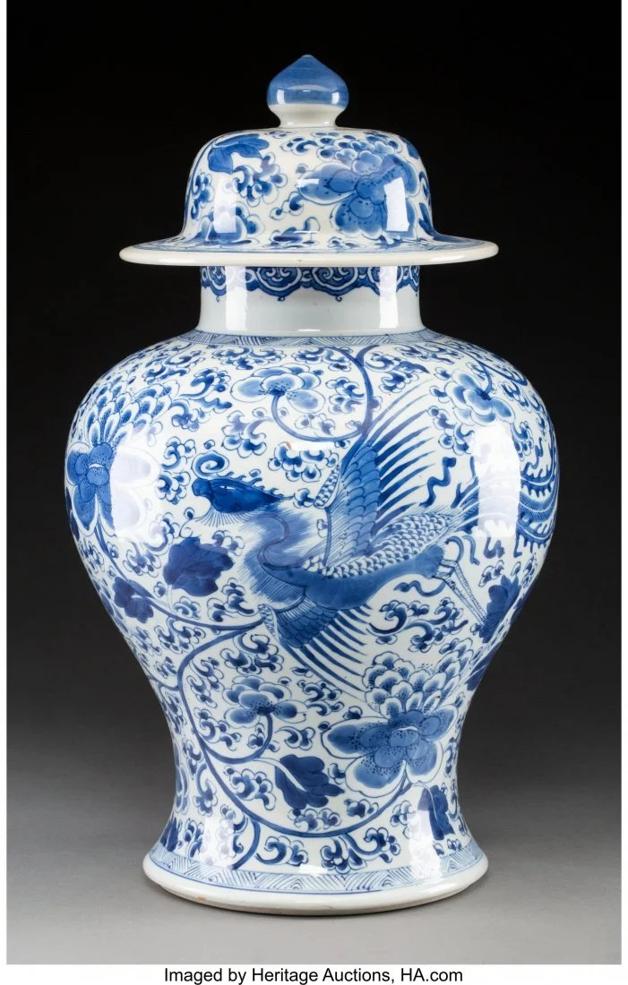 78117: A Chinese Blue and White Porcelain Phoenix Jar w