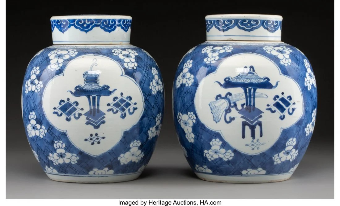 78121: A Pair of Blue and White Porcelain Jars with Cov