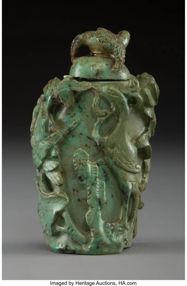 78425: A Chinese Carved Turquoise Snuff Bottle, Qing Dy