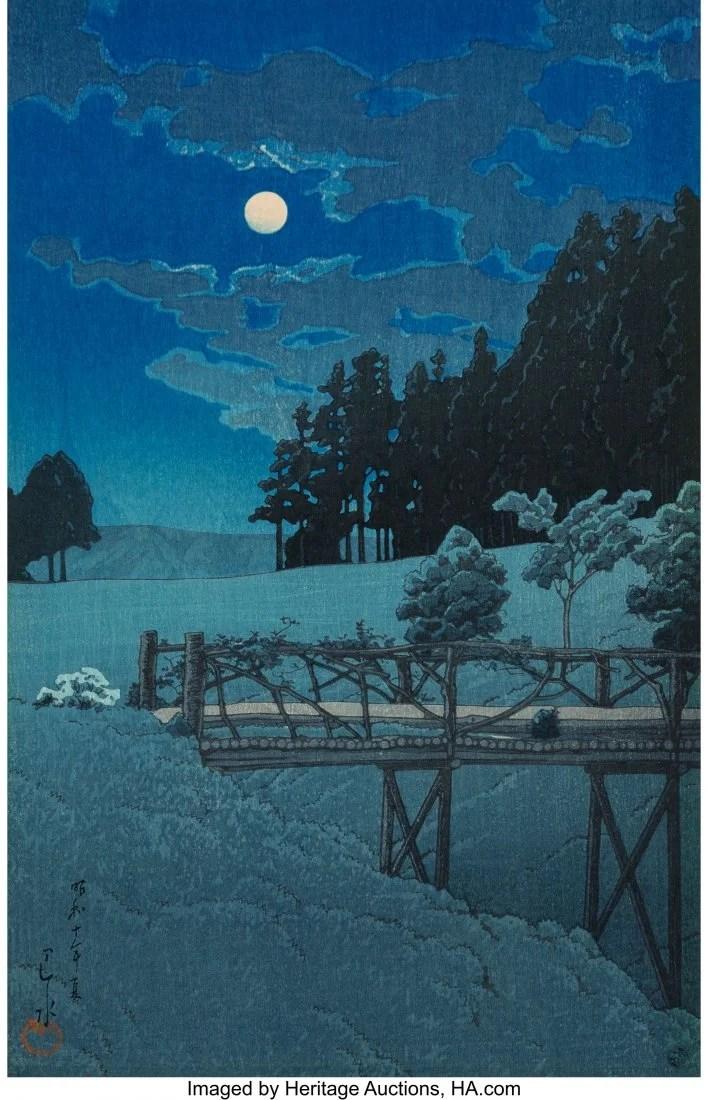 78419: Hasui Kawase (Japanese, 1883-1957) Moon Over Ake