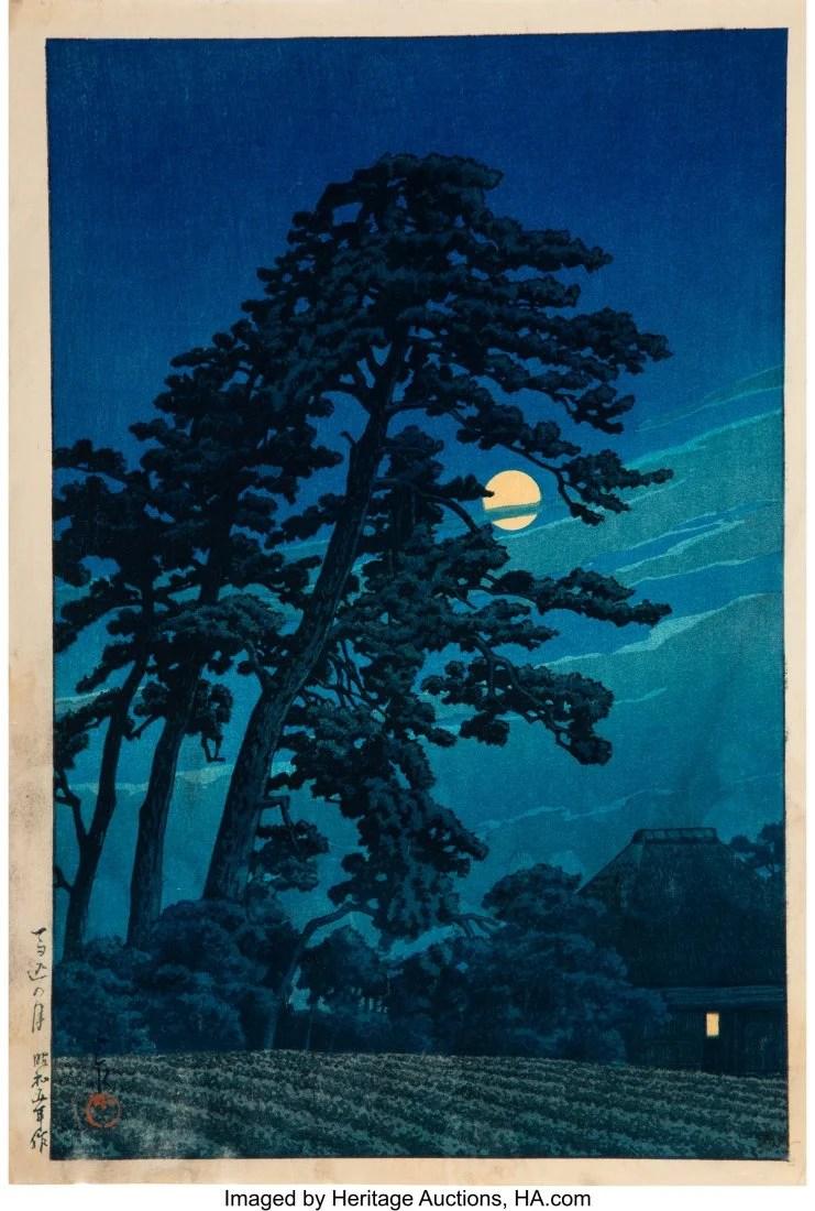 78421: Hasui Kawase (Japanese, 1883-1957) Moon at Magom
