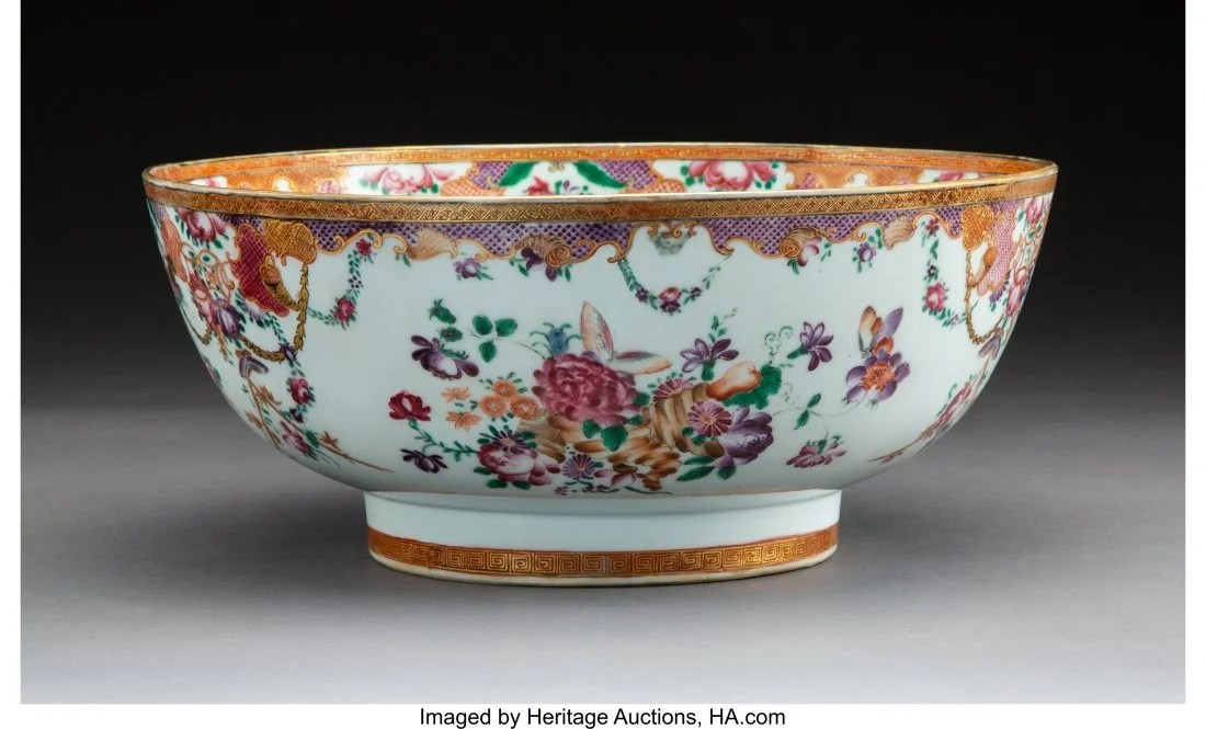 78311: A Chinese Export Enameled Porcelain Punch Bowl,