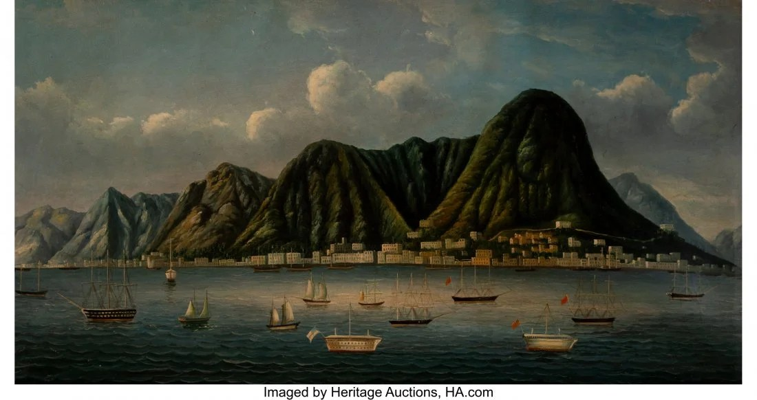 78313: A China Trade Painting of Hong Kong Harbor, mid-