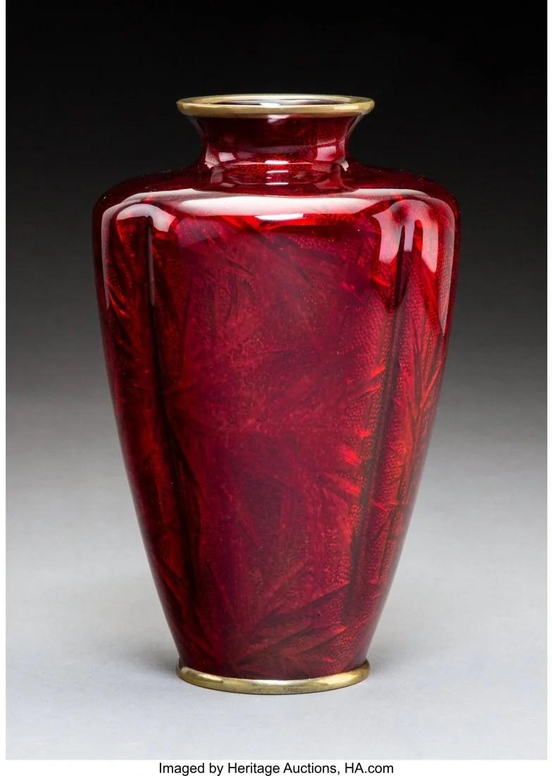 78405: A Kumeno Teitaro Ginbari Cloisonné Vase,