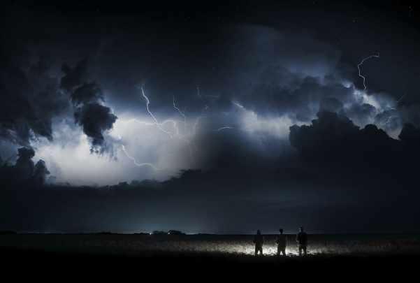 three, men, grasses, nighttime, sky, nature, forward, weather, landscape, field