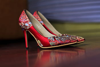 Image result for beautiful red satin high heel pump