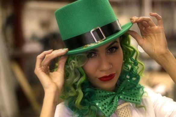 cute lady dressed in St. Patrick's Day outfit as a leprechaun, Irish folklore is known all over the English world