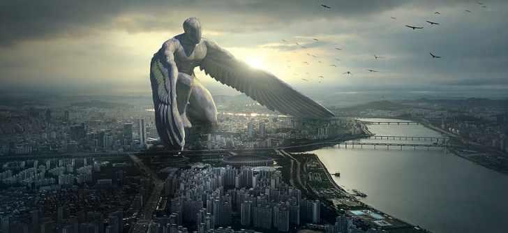男, 翼の図, ファンタジー, 都市, 天使, 巨人, 神秘的, 雰囲気, 作曲, おとぎ話