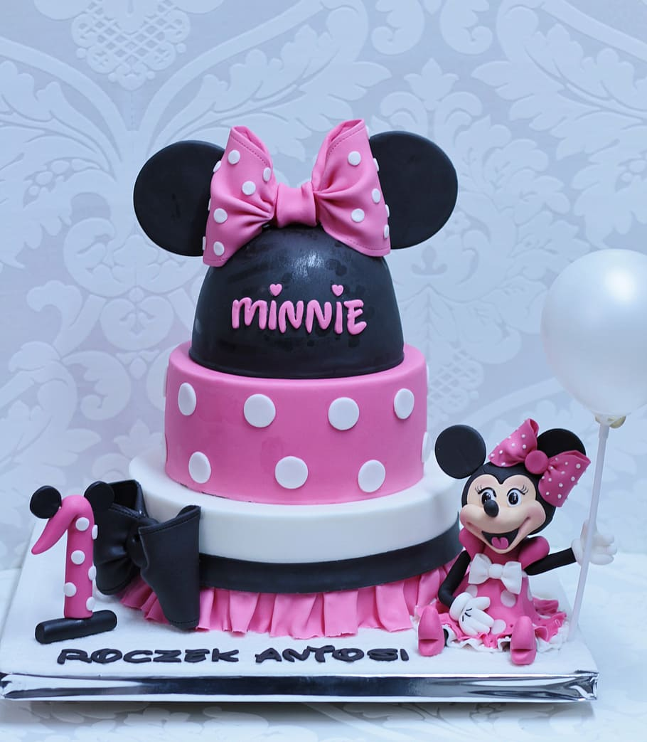 Minnie Mouse Cake Cake One Year Old Birthday Decoration Creative The Art Of Girly Pink Color Text Pxfuel