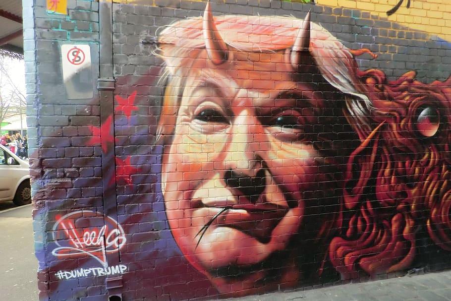 us, pres., donald trump graffiti, graffiti, trump, melbourne, australia, one person, portrait, real people