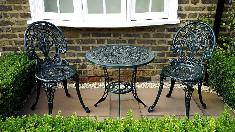three piece black metal patio table