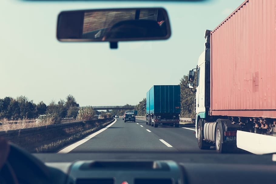 vehicles, black, concrete, road, green, trees, blue, sky, daytime, highway    Pxfuel