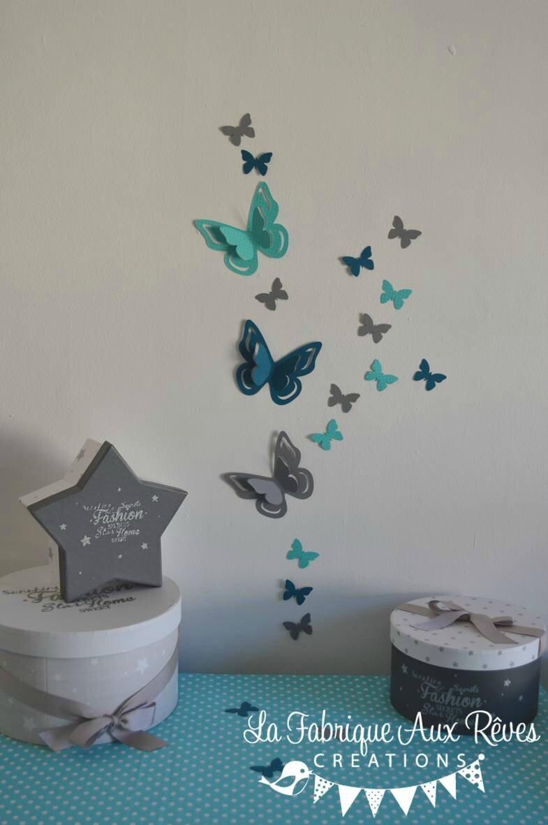 Stickers Papillons 3D Turquoise Gris Bleu Canard Ptrole
