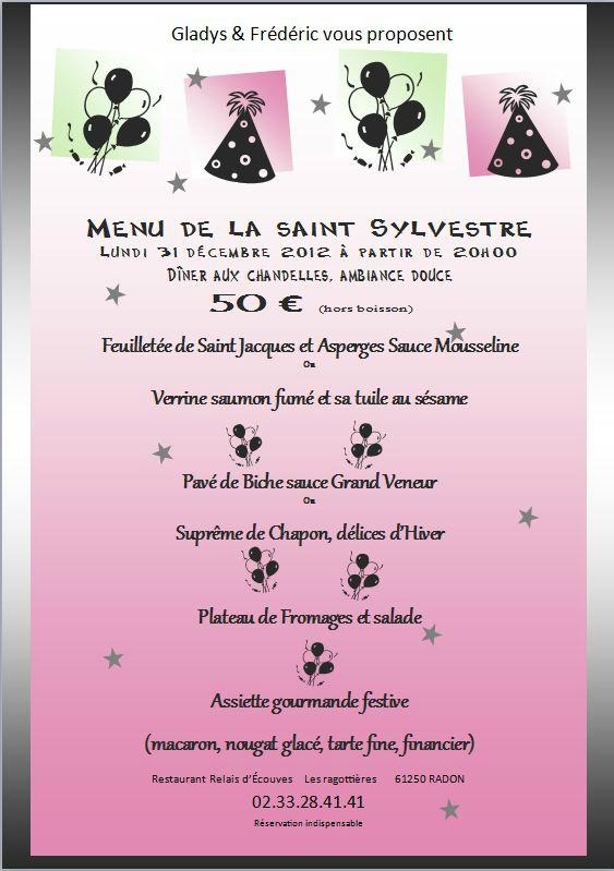 Menu De La Saint Sylvestre Relais Dcouves