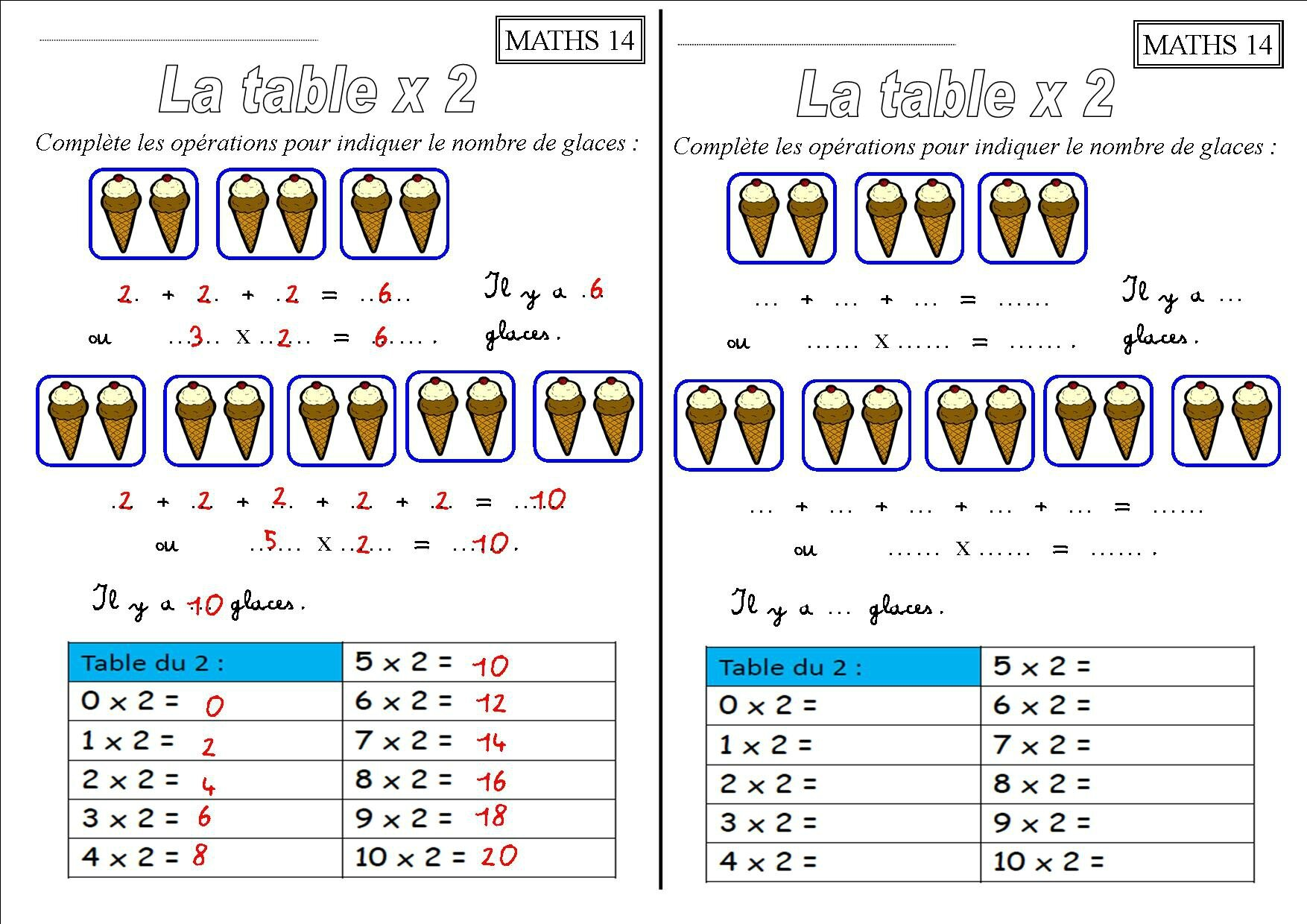 Exercices Tables De Multiplication 2 3 4 5