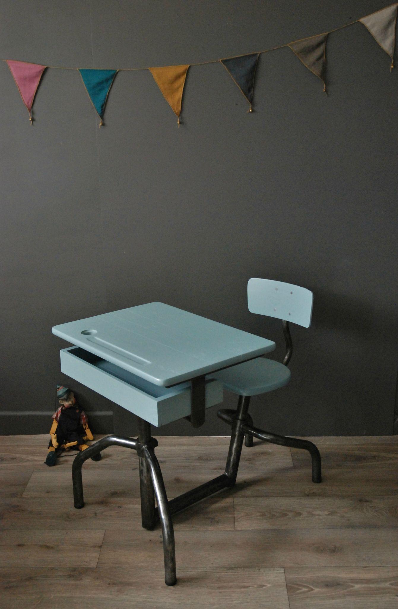 Ancien Bureau Dcolier Mobilor Atelier Vintage
