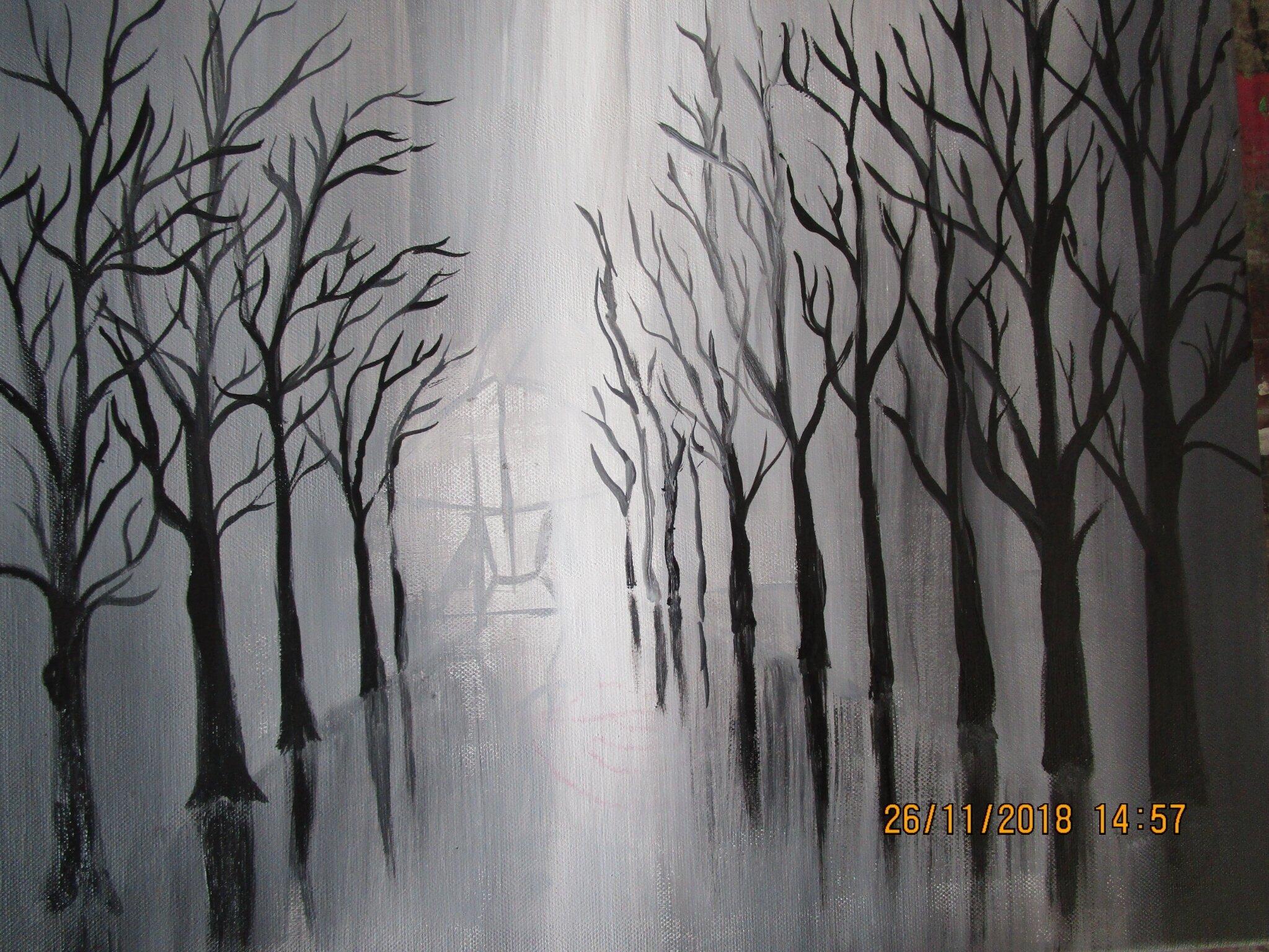 Arbres En Noir Et Blanc Sous La Neige A L Acrylique Domi Dessins Et Peintures