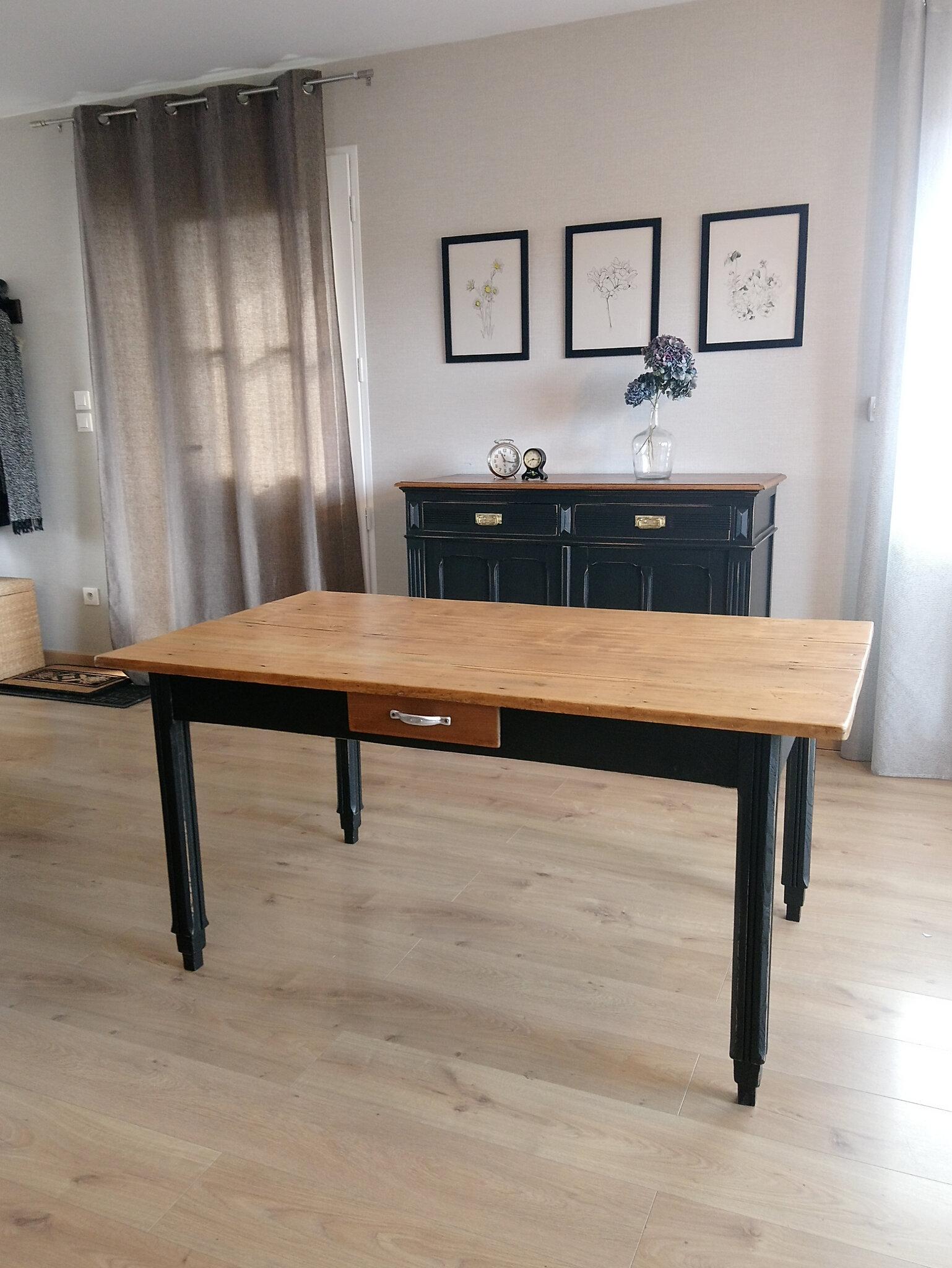 table ancienne bois noire renovation