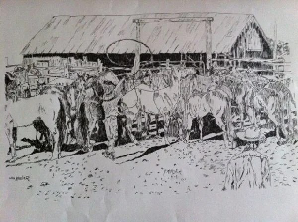 Joe Beeler Pen & Ink Drawing - Cowboys & Horse Herd : Lot 1412