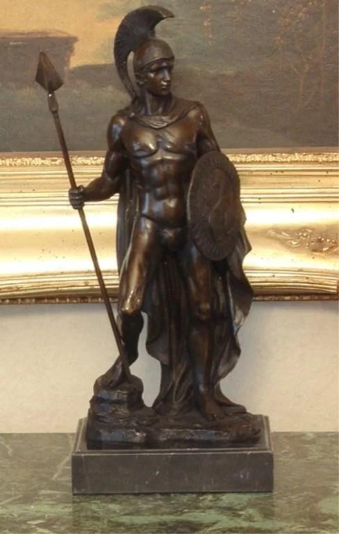 Roman Gladiator Warrior Spartacus Bronze Sculpture Lot 659