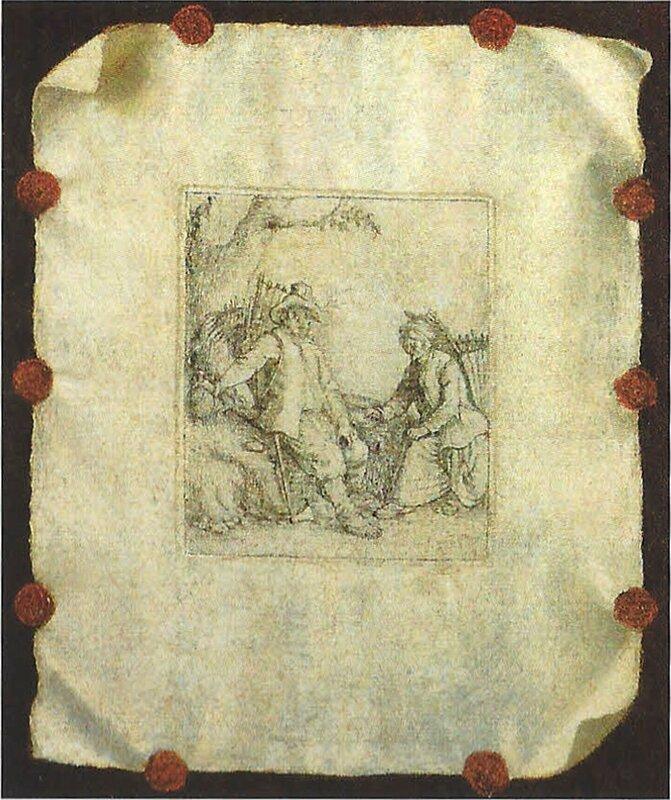 Trompe l'oeil à la gravure de david Teniers , 65 x 54cm - collection privée , Paris