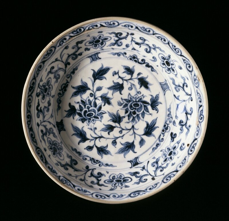 Dish with Lotus Sprays, Floral Scrolls, and Lotus Petals, Vietnam, 1450-1550