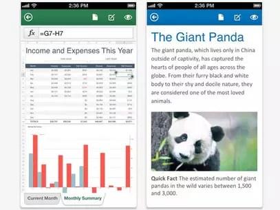 Aplicativo permite criar e editar arquivos do Word e Excel no smartphone da Apple Foto: Divulgação