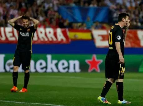 Lionel Messi lamenta gol do Atlético de Madrid Foto: Reuters