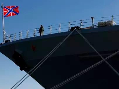 """Navio de guerra russo """"Peter the Great"""" no porto de Limassol, no Chipre, em 12 de fevereiro de 2014 Foto: AP"""
